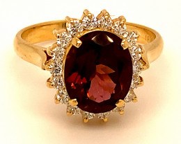 Red Tourmaline 3.57ct Diamonds Solid 18K Yellow Gold Cocktail Ring
