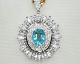 Natural Apatite, CZ and 925 Silver Pendant