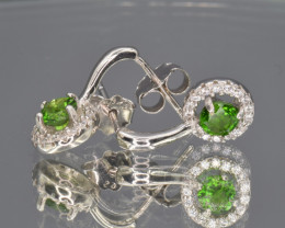 Natural Chrome Diopside, CZ and 925 Silver Ear Studs