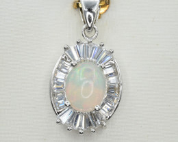 Natural Opal, CZ and 925 Silver Pendant