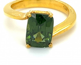 Green Zircon 4.35ct Solid 18K Yellow Gold Ring 5.4g