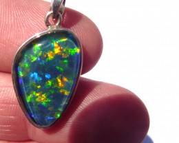 Hand Crafted Australian Triplet Opal and Sterling Silver Pendant (z3542)
