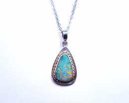 Hand Crafted Australian Doublet Opal and Sterling Silver Pendant (z3549)