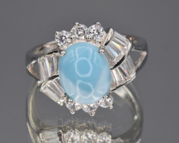 Natural Larimar, CZ and 925 Silver Ring
