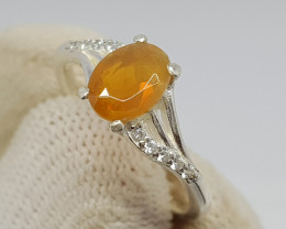 Natural Fire Opal 10.00 Carats 925 Starling Silver CZ Ring I93