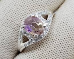 Natural Bio Color Ametrine 16.60 Carats 925 Starling Silver Ring N93