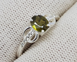 Natural Green Sphene (Titanite) 9.70 Carats 925 Starling Silver Ring N92