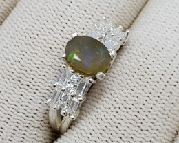 Natural Faceted Fire Opal 20.10 Carats 925 Starling Silver Ring N63