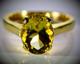 Yellow Scapolite 3.42ct Solid 18K Yellow Gold Ring