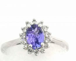Tanzanite and Diamond Ring 1.00 TCW