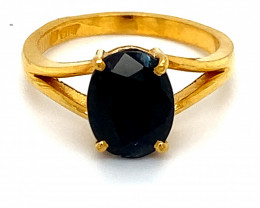 Blue Sapphire 3.42ct Solid 22K Yellow Gold Ring  Untreated