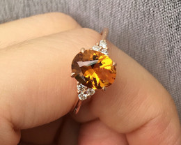 GR112 Madeira Citrine Solid 14K Yellow Gold Ring 2.53grams