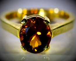Orange Tourmaline 3.22ct Solid 18K Yellow Gold Ring 6g