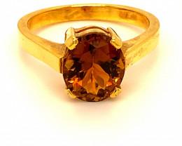 Orange Tourmaline 3.22ct Solid 18K Yellow Gold Ring 6g