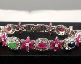 Natural Emerald,sapphire and Ruby with CZ Barcelet.