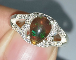 Natural Black Opal CZ Ring 925 Sterling Silver
