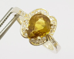 Natural Yellow Sphene (Titanite) CZ Ring 925 Sterling Silver