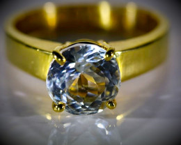 Aquamarine 2.44ct Solid 18K Yellow Gold Ring