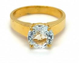Aquamarine 2.44ct Solid 18K Yellow Gold Ring