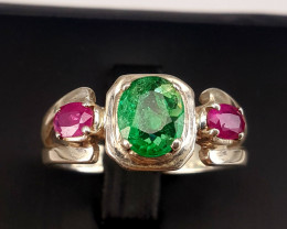 Natural Emerald and Ruby Ring.