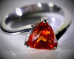 Spessartine 1.25ct Solid 18K White Gold Ring