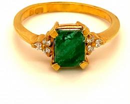Emerald 1.30ct Natural Diamonds Solid 22K Yellow Gold Multistone Ring