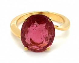Rubellite 6.02ct Solid 18K Yellow Gold Ring