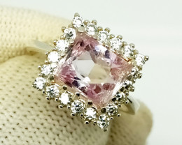 Natural Women's Stone (Pink Kunzite) - 925 Sterling Silver Ring