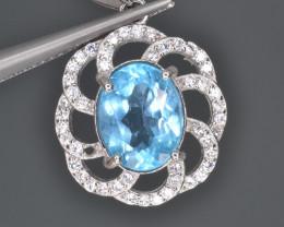 Natural Blue Topaz 12.84 Cts CZ, Silver Pendant