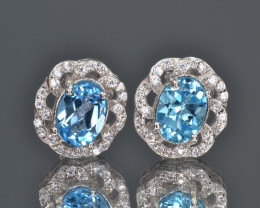 Natural Blue Topaz 15.89 Cts CZ, Silver Earrings