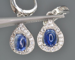 Natural Kyanite 20.40 Cts CZ, Silver Earrings