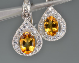 Natural Citrine 19.89  Cts CZ, Silver Earrings
