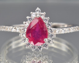 Natural Ruby, CZ and 925 Silver Ring