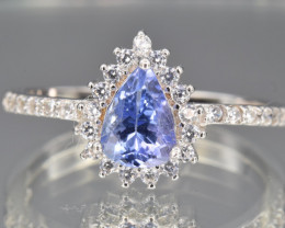 Natural Tanzanite, CZ and 925 Silver Ring