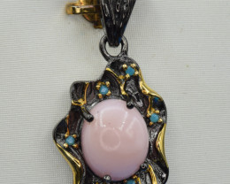 Natural Pink Opal and 925 Silver Pendant
