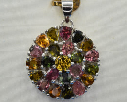 Natural Multicolor Tourmalines and 925 Silver Pendant
