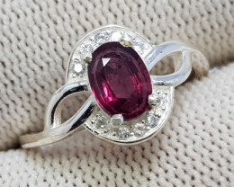 Natural Purple Rhodonite Garnet 10.15 Carats Starling Silver 925 CZ Ring N7