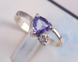 Natural Tanzanite and CZ Ring
