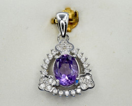 Natural Amethyst, CZ and 925 Silver Pendant, Elegant Design