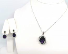 Amethyst Set of Pendant and Earrings 7.00 TCW