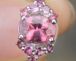 Neon Pink Malaya Garnet & Pink Tourmaline Ring