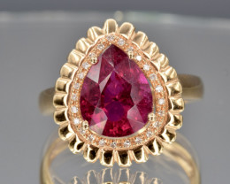 18k Natural Rubellite, diamonds and 18k solid gold ring