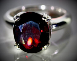 Pyrope Garnet 5.50ct Platinum Finish Solid 925 Sterling Silver Ring