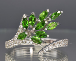 Natural Chrome Diopside, CZ and 925 Silver Ring