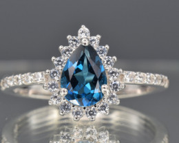 Natural Blue Topaz, CZ and 925 Silver Ring