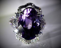 Amethyst 7.10ct Platinum Finish Solid 925 Sterling Silver Ring