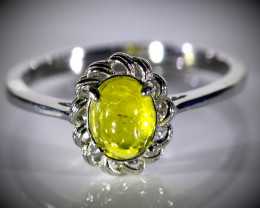 Yellow Tourmaline 1.30ct Platinum Finish Solid 925 Sterling Silver Ring