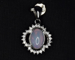 Natural Opal, CZ and 925 Silver Pendant, Elegant Design