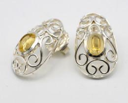 Citrine Filigree Sterling Silver Earrings