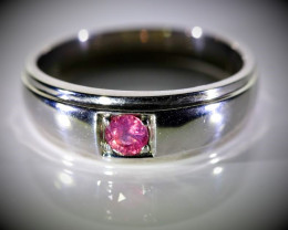 Ruby .41ct Platinum Finish Solid 925 Sterling Silver Ring